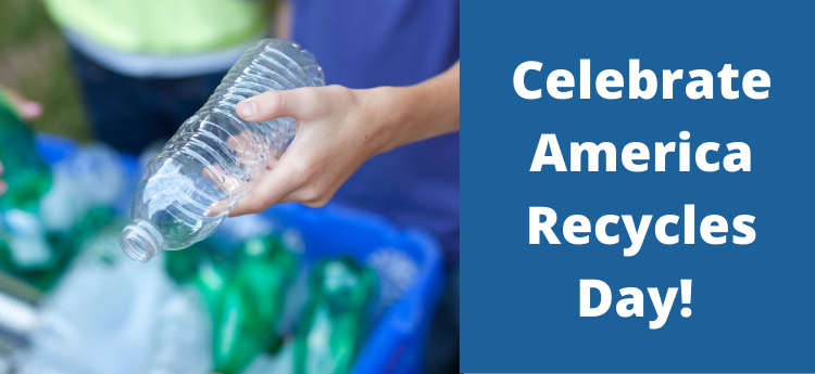 Person recycling a plastic bottle - Celebrate America Recycles Day